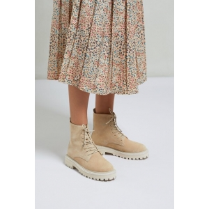 YAYA Suede boot with bulky sole, Oat